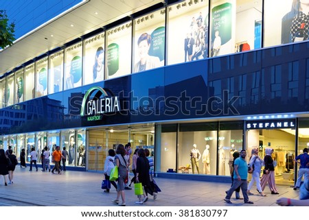 FRANKFURT AM MAIN, GERMANY - AUGUST 7, 2015: Galeria Kaufhof, one of Europe's leading department stores, on Zeil. Zeil is one of the most famous and busiest shopping streets in Germany. - stock photo