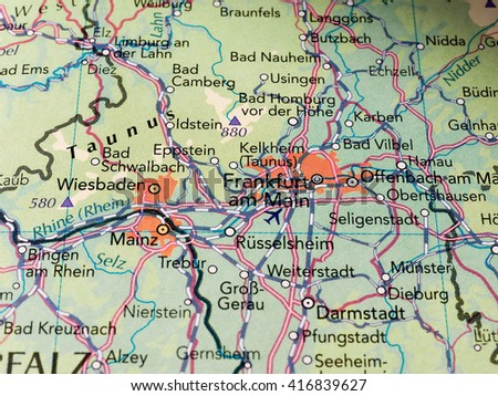 FRANKFURT AM MAIN, GERMANY - CIRCA MAY 2016: Detail of a map of the city with selective focus on city name Frankfurt - stock photo