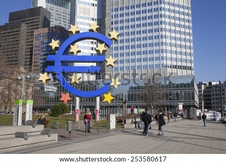 FRANKFURT AM MAIN, GERMANY - FEBRUARY 7, 2015: photo of European Central Bank, one of the world's most important central banks. it is situated in Frankfurt am Main city, Germany.   - stock photo