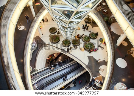 FRANKFURT AM MAIN, GERMANY - JAN 10, 2015: The escalator in the shopping centre. It's been designed by Massimiliano Fuksas. - stock photo