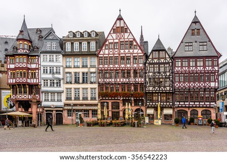 FRANKFURT AM MAIN, GERMANY - NOVEMBER 14, 2014: Street view of Frankfurt. Frankfurt am Main is the largest city in the German state of Hesse and the fifth-largest city in Germany. - stock photo