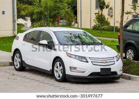 FRANKFURT AM MAIN, GERMANY - SEPTEMBER 15, 2013: Motor car Chevrolet Volt at the city street. - stock photo