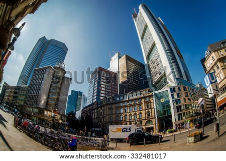 Frankfurt am Main, Germany- September 24, 2013: Skyscrapers of Frankfurt am Main. Frankfurt am Main is a dynamic and international financial and trade city with the most imposing skyline in Germany. - stock photo