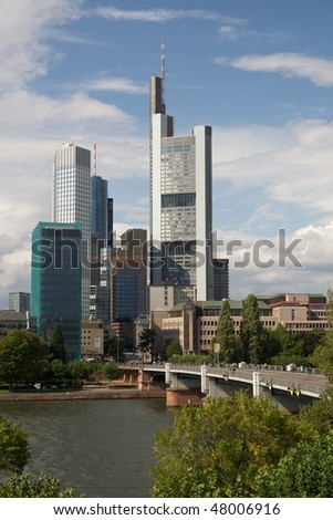 Frankfurt am Main, germany - View of the business district and the river - stock photo