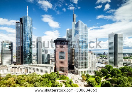 Frankfurt city downtown with view on park - stock photo