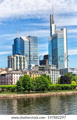 Frankfurt city in a beautiful blue sky day. Germany - stock photo