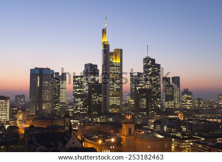 Frankfurt city skyline - stock photo
