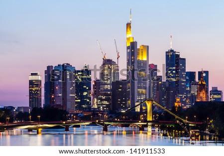 Frankfurt city skyline on sunset - stock photo