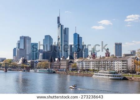 Frankfurt downtown skyline and the river Main. Frankfurt am Main, Germany - stock photo