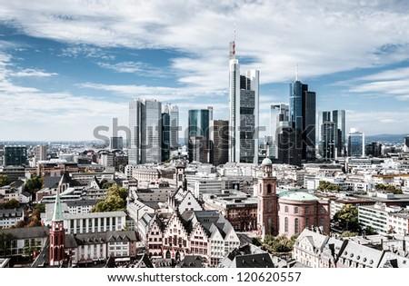 Frankfurt European financial capital skyline - stock photo