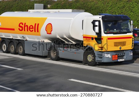FRANKFURT,GERMANY - APRIL 10:Shell Oil Truck on the highway on April 10,2015 in Frankfurt, Germany.Royal Dutch Shell plc, commonly known as Shell, is an Anglo-Dutch multinational oil and gas company - stock photo