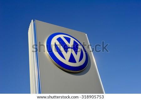 FRANKFURT,GERMANY-AUG 08:Volkswagen logo on August 08,2015 in Frankfurt,Germany. Volkswagen is a German automobile manufacturer headquartered in Wolfsburg, Lower Saxony, Germany.  - stock photo