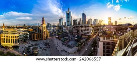 FRANKFURT, GERMANY - JULY 9: Aerial view of Frankfurt with Hauptwachen on July 9, 2014 in Frankfurt, Germany - stock photo