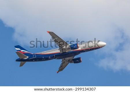 FRANKFURT, GERMANY - JULY 21: LAeroflot Airbus A320 starting from the Frankfurt International Airport (FRA). July 21, 2015 in Frankfurt Main, Germany - stock photo