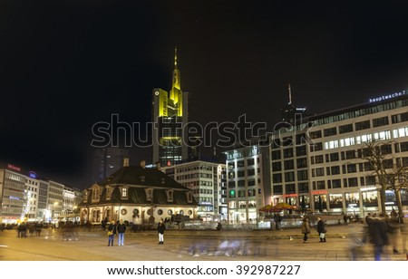 FRANKFURT, GERMANY - MAR 18, 2016: Illuminated buildings and skyline at night during Luminale  in Frankfurt, Germany. The Light festival takes place in Frankfurt every 2 years and lasts one week. - stock photo