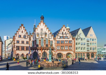 FRANKFURT, GERMANY - MAR 6, 2015: People on Roemerberg square in Frankfurt, Germany. Frankfurt is the fifth-largest city in Germany. - stock photo