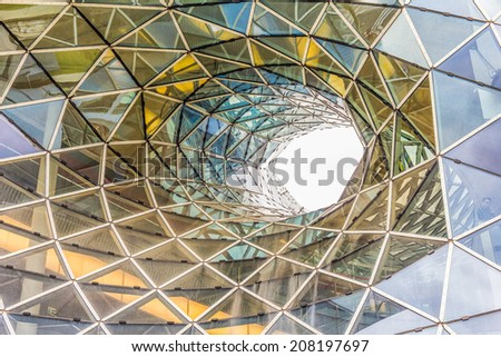 FRANKFURT, GERMANY - MARCH 1, 2014: Architectural details of the MyZeil shopping mall in Frankfurt. The famous shopping center has a modern design and the longest escalator in Germany. - stock photo