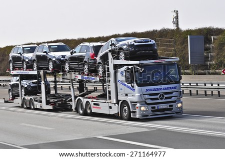 FRANKFURT,GERMANY-MARCH 28:mercedes benz truck on March 28,2015 in Frankfurt,Germany.MB is a German automobile manufacturer, a multinational division of the German manufacturer Daimler AG - stock photo