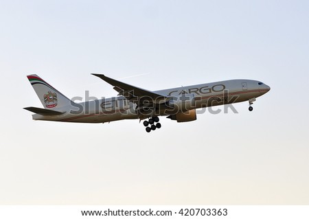 FRANKFURT,GERMANY-MAY 05:Boeing 777 of Etihad Cargo above the Frankfurt airport on May 05,2016 in Frankfurt,Germany.Etihad Airways- the second-largest airline of the United Arab Emirates. - stock photo