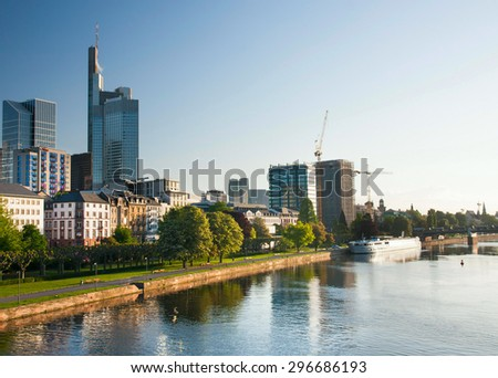FRANKFURT,GERMANY 5 MAY 2015: Business and finance center during the sunrise - stock photo