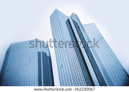 FRANKFURT, GERMANY - NOV 12, 2012: Business image of modern business skyscrapers, generic unidentified buildings - tilt-shift lens used to outline the buildings and to emphasize the attention on them - stock photo
