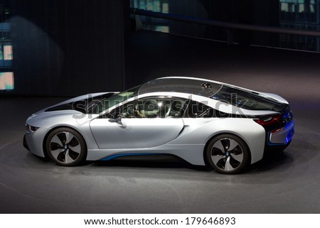 FRANKFURT, GERMANY - SEP 20: BMW i8 at the IAA motor show on Sep 20, 2013 in Frankfurt. More than 1.000 exhibitors from 35 countries are present at the world's largest motor show.  - stock photo