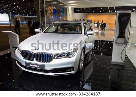 FRANKFURT, GERMANY - SEP 16, 2015: BMW 740Le plug-in hybrid shown at the IAA 2015. - stock photo