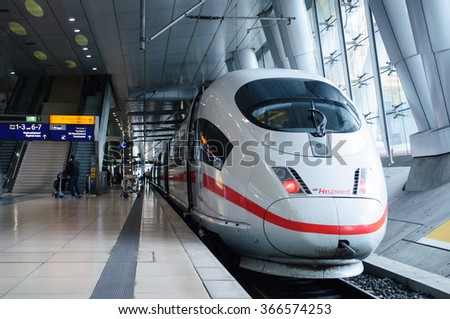 FRANKFURT, GERMANY - SEP 14, 2009: ICE 3 Hispeed train or Intercity-Express 3 in Frankfurt Airport train station. Ice 3 is a family of high-speed EMU trains operated by Deutsche Bahn. - stock photo