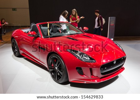 FRANKFURT, GERMANY - SEP 13: Jaguar F-Type at the IAA motor show on Sep 13, 2013 in Frankfurt. More than 1.000 exhibitors from 35 countries are present at the world's largest motor show. - stock photo