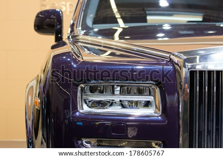 FRANKFURT, GERMANY - SEP 13: Rolls Royce Wraith at the IAA motor show on Sep 13, 2013 in Frankfurt. More than 1.000 exhibitors from 35 countries are present at the world's largest motor show.  - stock photo