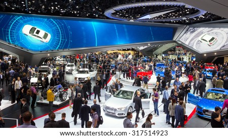 FRANKFURT, GERMANY - SEP 16, 2015: View in the Audi Hall during IAA 2015 motor show. - stock photo