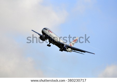 FRANKFURT,GERMANY-SEPT 24:airplane of British Airways above the Frankfurt airport on September 24,2015 in Frankfurt,Germany.British Airways is the flag carrier airline of the United Kingdom. - stock photo