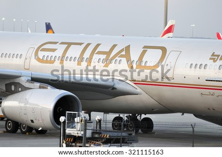 FRANKFURT,GERMANY-SEPT 24:airplane of Etihad Airways in the Frankfurt airport on September 24,2015 in Frankfurt,Germany.Etihad Airways- the second-largest airline, of the United Arab Emirates. - stock photo