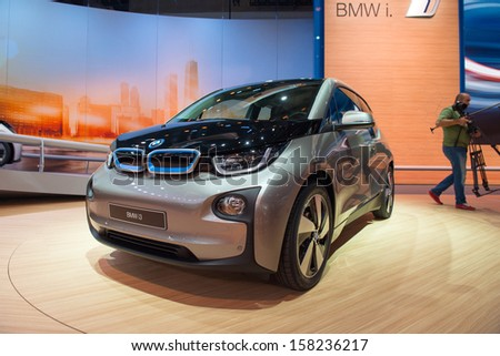 FRANKFURT, GERMANY - SEPTEMBER 11: Frankfurt international motor show (IAA) 2013. BMW i3 is the world�¢??s first premium all-electric car - world premiere - stock photo