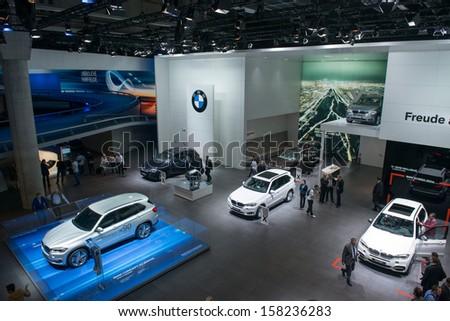 FRANKFURT, GERMANY - SEPTEMBER 11: Frankfurt international motor show (IAA) 2013. BMW X5 new generation - world premiere - stock photo