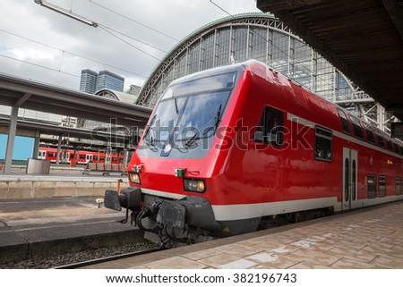 frankfurt germany train station - stock photo