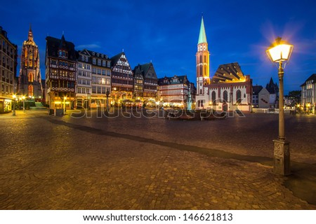 Frankfurt old city. Roemer place. - stock photo