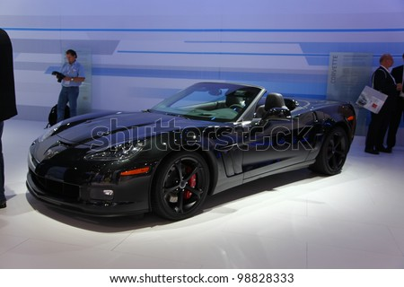 FRANKFURT - SEPT 13: Chevrolet Corvette Centennial Edition presented at the 64th IAA (Internationale Automobil Ausstellung) on September 13, 2011 in Frankfurt, Germany. - stock photo