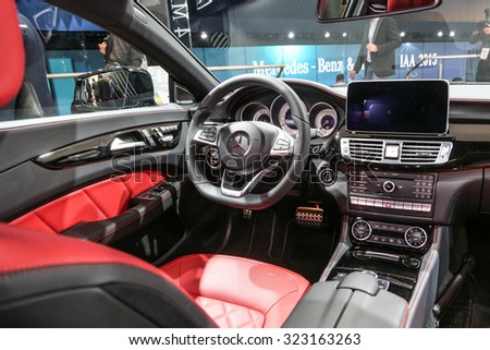 FRANKFURT - SEPT 15: Cockpit of Mercedes Benz CLS 350d 4Matic Shooting Break shown at the 66th IAA (Internationale Automobil Ausstellung) on September 15, 2015 in Frankfurt, Germany. - stock photo
