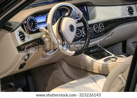 FRANKFURT - SEPT 15: Cockpit of Trasco Premium Limousine Mercedes Benz S 600L shown at the 66th IAA (Internationale Automobil Ausstellung) on September 15, 2015 in Frankfurt, Germany. - stock photo