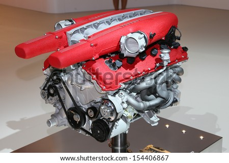 FRANKFURT - SEPT 10: Ferrari F12 Berlinetta engine shown at the 65th IAA (Internationale Automobil Ausstellung) on September 10, 2013 in Frankfurt, Germany. - stock photo