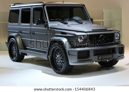 FRANKFURT - SEPT 10: Hamann Spyridon based on Mercedes Benz G-Class shown at the 65th IAA (Internationale Automobil Ausstellung) on September 10, 2013 in Frankfurt, Germany. - stock photo
