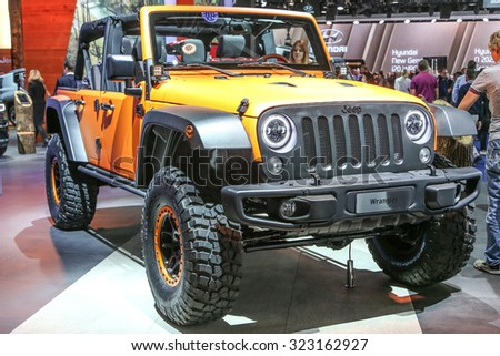 FRANKFURT - SEPT 15: Jeep Wrangler Unlimited Rubicon 2.8 CRD shown at the 66th IAA (Internationale Automobil Ausstellung) on September 15, 2015 in Frankfurt, Germany. - stock photo