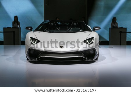 FRANKFURT - SEPT 16: Lamborghini Aventador LP 750-4 SV Roadster shown at the 66th IAA (Internationale Automobil Ausstellung) on September 16, 2015 in Frankfurt, Germany. - stock photo