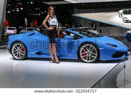 FRANKFURT - SEPT 16: Lamborghini Huracan LP 610-4 Spyder shown at the 66th IAA (Internationale Automobil Ausstellung) on September 16, 2015 in Frankfurt, Germany. - stock photo
