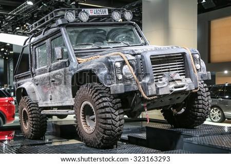 FRANKFURT - SEPT 16: Land Rover Defender Spectre shown at the 66th IAA (Internationale Automobil Ausstellung) on September 16, 2015 in Frankfurt, Germany. - stock photo