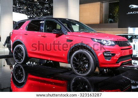 FRANKFURT - SEPT 15: Land Rover Discovery Sport shown at the 66th IAA (Internationale Automobil Ausstellung) on September 15, 2015 in Frankfurt, Germany. - stock photo