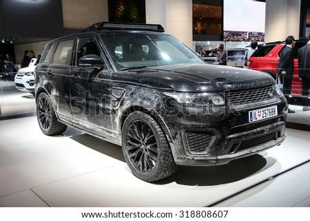 FRANKFURT - SEPT 16: Land Rover Range Rover SVR Spectre shown at the 66th IAA (Internationale Automobil Ausstellung) on September 16, 2015 in Frankfurt, Germany. - stock photo