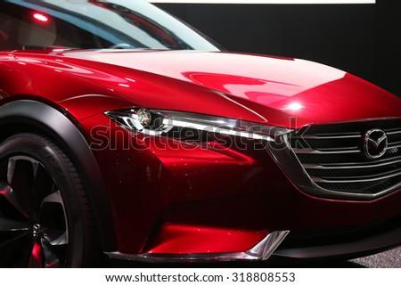 FRANKFURT - SEPT 15: Mazda Koeru shown at the 66th IAA (Internationale Automobil Ausstellung) on September 15, 2015 in Frankfurt, Germany. - stock photo
