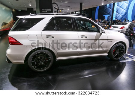 FRANKFURT - SEPT 16: Mercedes AMG GLE 63 S 4Matic shown at the 66th IAA (Internationale Automobil Ausstellung) on September 16, 2015 in Frankfurt, Germany. - stock photo